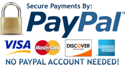 PayPal logo and Credit card logos